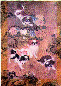 Древний японский гобелен с хинами